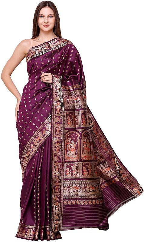 Plum-Purple Baluchari Sari from Bengal with Zari-Woven Scenes from the Mahabharata