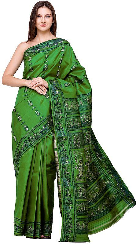 Fern-Green Baluchari Sari from Bengal with Woven Radha-Krishna