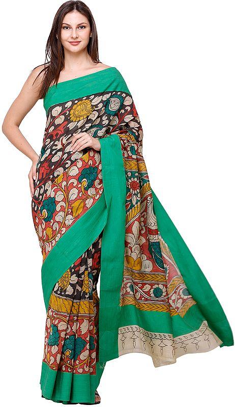 Kelly-Green Kalamkari Sari with Diyas and Large Peacock on Pallu