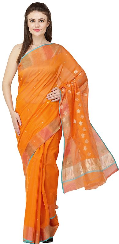 Sun-Orange Chanderi Sari with Woven Border and Bootis on Pallu