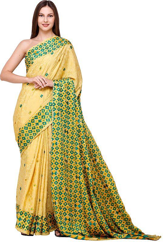 Primrose-Yellow Sari from Amritsar with Phulkari Hand Embroidery on Border and Anchal