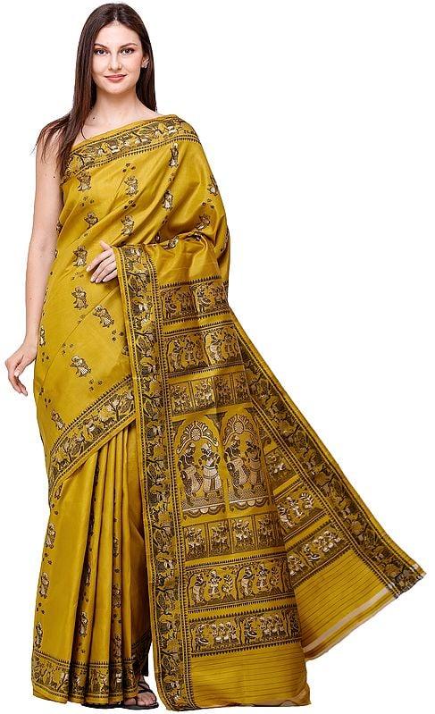 Mustard Baluchari Sari from Bengal with Woven Dancing Village Folks and Peacocks