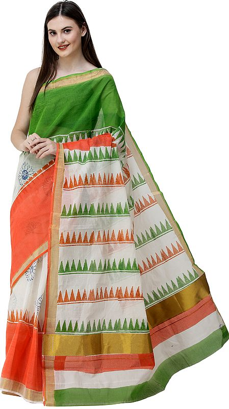 Tri-Color Freedom Sari with Zari-Woven Border and Printed Temple Pallu