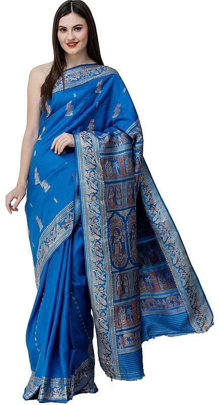 Diva-Blue Baluchari Sari from Bengal with Woven Wedding Rituals on Pallu