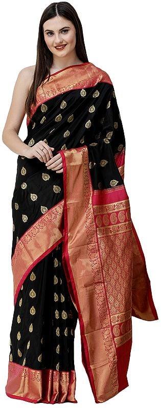 Midnight-Black and Pink Uppada Sari from Bangalore with Zari Woven Motifs and paisleys on Pallu