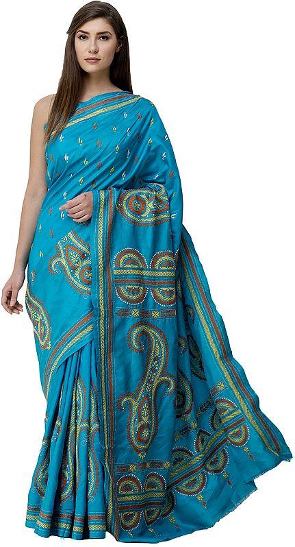 Algiers-Blue Sari from Kolkata with Kantha-Embroidered Giant Paisleys