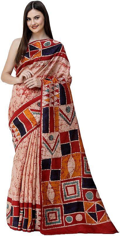 Frappe Batik Sari from Kolkata with Geometric Motifs