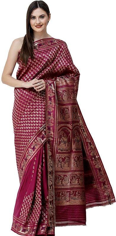 Boysenberry Baluchari Sari from Bengal with Woven Bootis and Mahabharta Episodes on Pallu