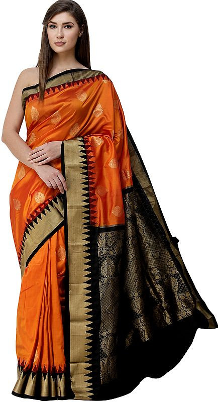 Orange-Ochre Brocaded Uppada Sari from Bangalore with Zari Woven Motifs and Temple Border