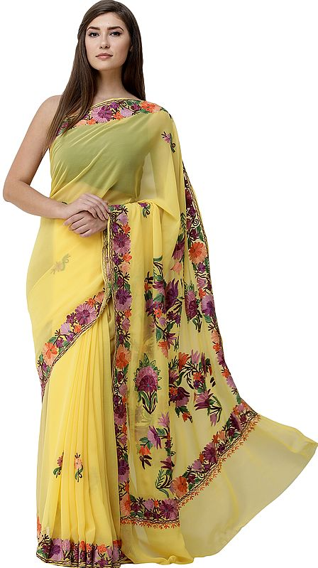Empire-Yellow  Sari from Kashmir with Ari-Embroidered Multicolor Flowers