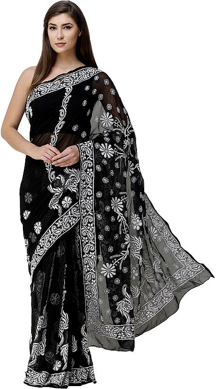 Caviar-Black Sari from Lucknow with Chikan Hand-Embroidered Flowers and Paisleys