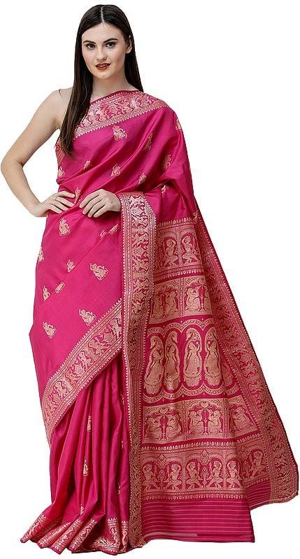 Very-Berry Baluchari Sari from Bengal with Woven Apsaras on Border and Pallu