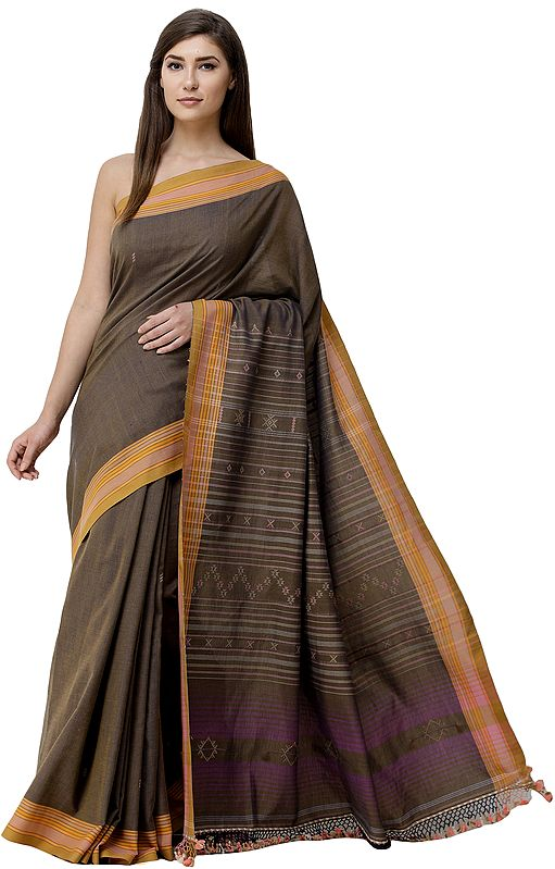 Coffee-Liqueur Sari from Kutch with Woven Bootis and Stripes on Pallu
