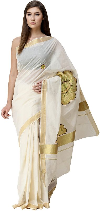 Banana-Cream Kasavu Sari from Kerala with Embroidered Giant Floral Patches and Golden Border
