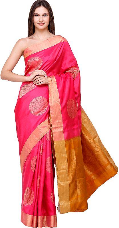Raspberry-Pink Brocaded Uppada Sari from Bangalore with Hand-Woven Giant Bootis
