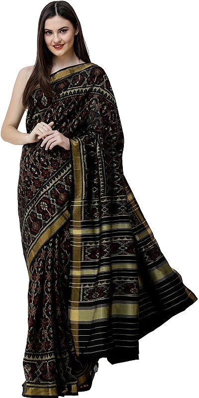 Phantom-Black Patola Sari from Patan with Ikat Weave All-Over