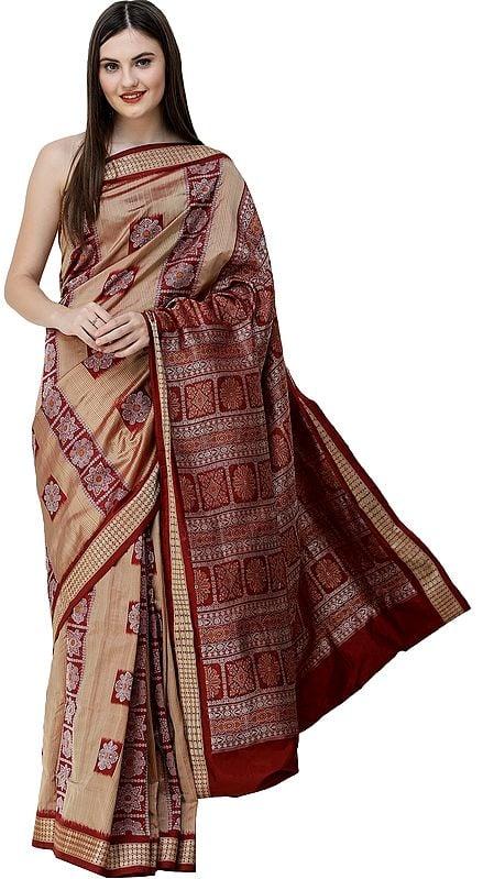 Lark Bomkai Handloom Sari from Orissa with Woven Strips and Box Design