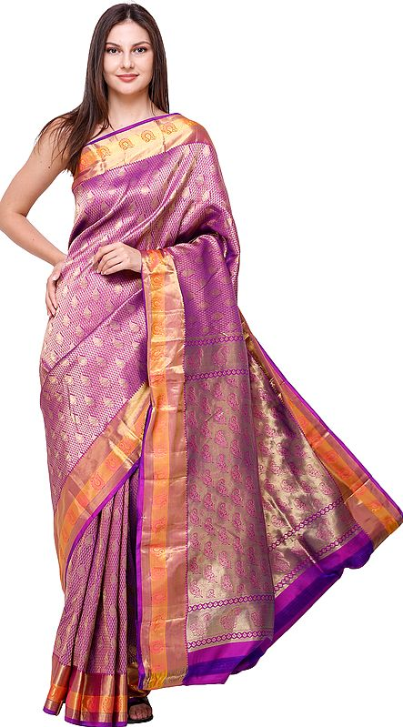 Royal-Lilac  Brocaded Wedding Sari from Bangalore with Zari-Woven Bootis and Paisleys on Anchal
