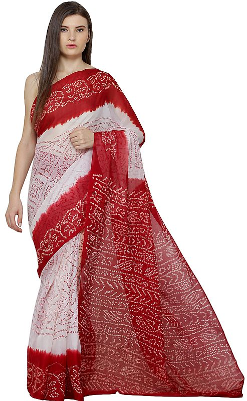 Red and White Bandhani Tie-Sye Sari from Gujarat