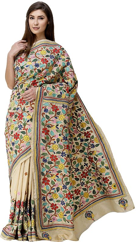 Beige Tussar Sari from Kolkata with  Kantha Hand-Embroidered Multicolor Flowers All-Over