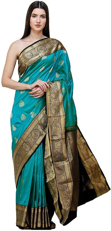 Brocaded Uppada Sari from Bangalore with Zari Woven Peacocks on Border