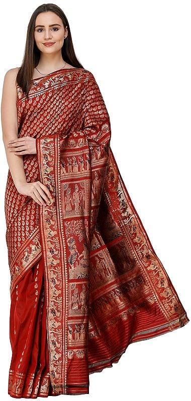 Tandori-Spice Baluchari Sari from Bengal with Hand-woven Ramayana Episodes on Anchal