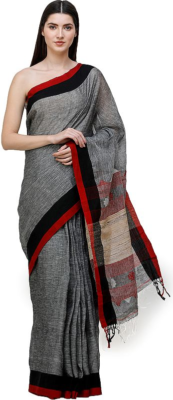 Slate-Gray Handloom Sari from Bengal with Jute Weave on Pallu