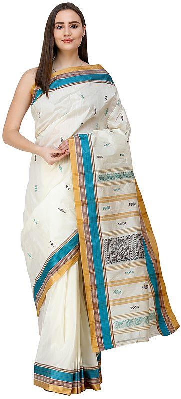 Banana-Cream Garad Sari from Bengal with Woven Pallu and Golden Border