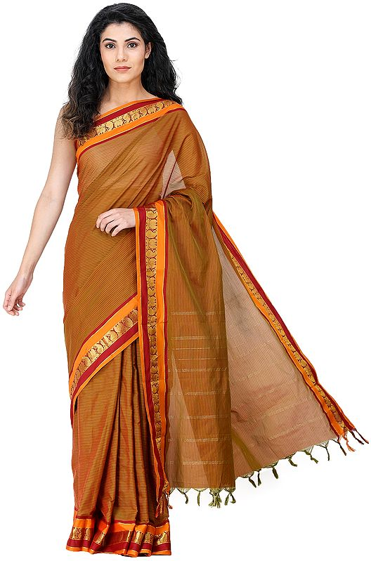 Kanji-Cotton Sari from Chennai with Zari-Woven Animals on Border and Pin-Stripes