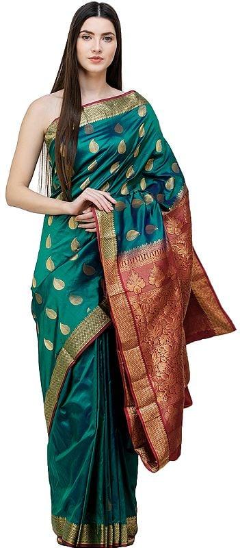 Pacific-Green Uppada Sari from Bangalore with Zari-Woven Leaves and Brocaded Pallu