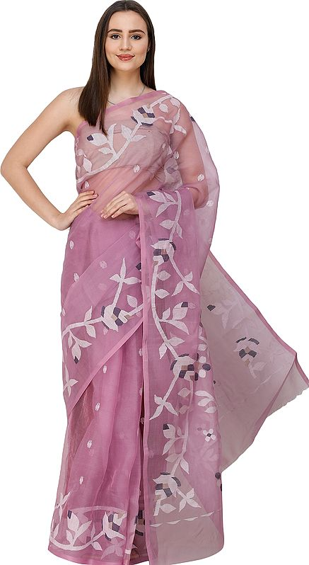 Violet-Tulle Muslin Jamdani Sari from Bengal with Woven Flowers