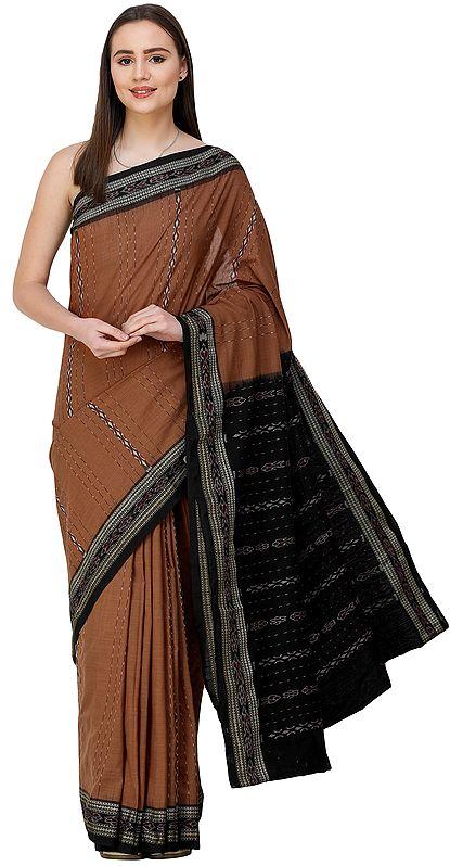 Mocha-Mousse Sambhalpuri Sari from Orissa with Woven Strips and Bootis on Pallu