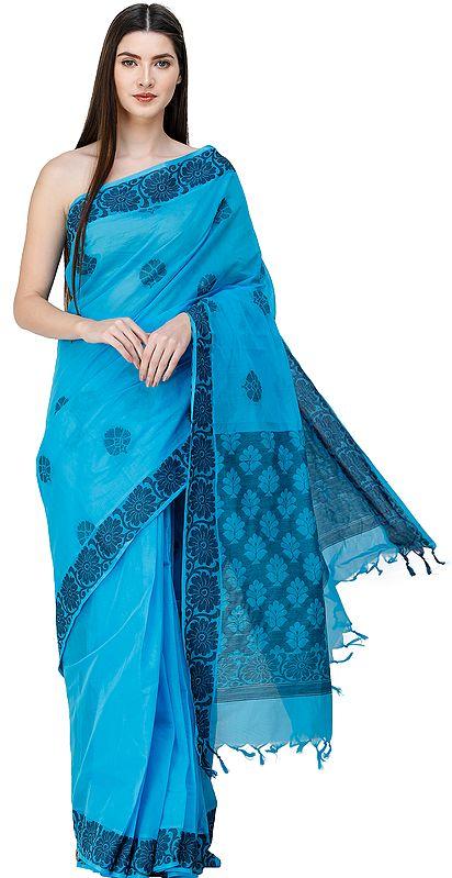 Aquarius-Blue Kanji Cotton Sari from Chennai with Woven Flowers