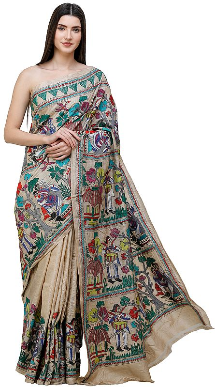 Bleached-Sand Tussar Sari from Kolkata with Kantha Hand-Embroidered Trees and Village Tribes in Multicolor Thread