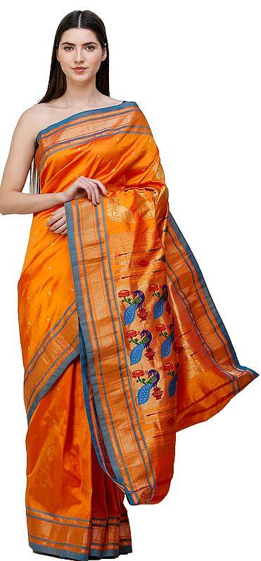Amberglow Brocaded Paithani Sari from Maharashtra with Hand-woven Peacocks on Anchal