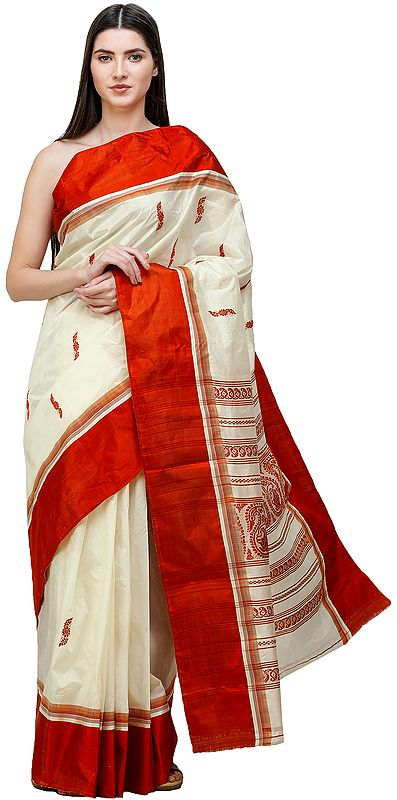 Cream and Red Garad Sari from Bengal with Woven Pallu