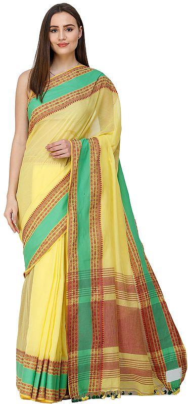 Aurora-Yellow Puja Sari from Kolkata with Woven Bootis on Border and Stripped Pallu