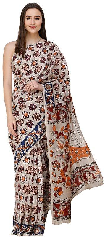 Oyster-Gray Kalamkari Sari from Telangana with Printed Musical Instruments and Apsaras on Anchal