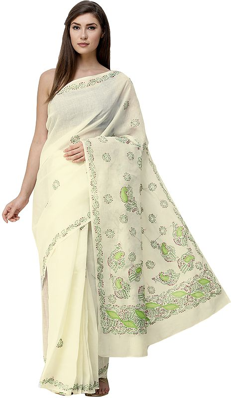 Cream Sari from Lucknow with Chikan Hand-Embroidered Flowers and Applique Work