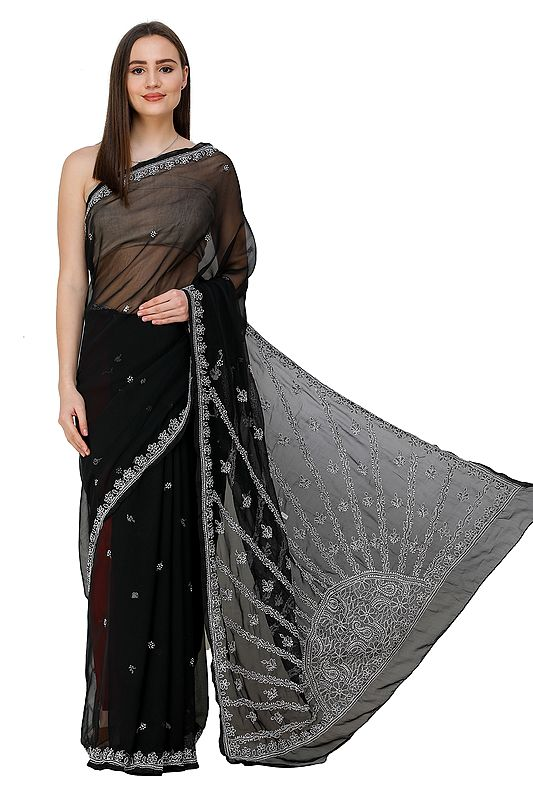 Jet-Black Sari from Lucknow with Chikan Embroidery by Hand