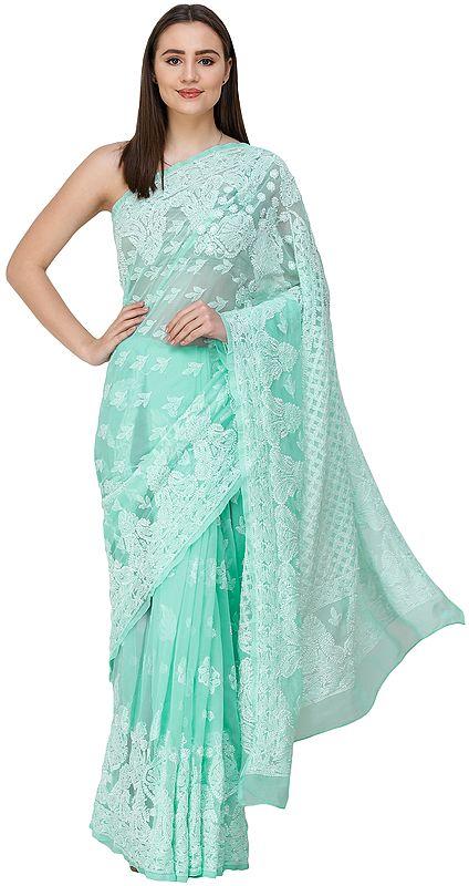 Brook-Green Lukhnavi Chikan Sari with Hand-Embroidered Paisleys