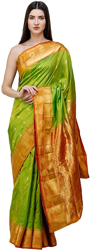 Macaw-Green Brocaded Handloom Uppada Sari from Bangalore with Peacocks on Border