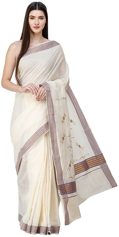 Afterglow Kasavu Sari from Kerala with Embroidered Floral Patches and Golden Border