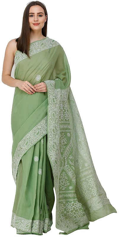 Mineral-Green Lukhnavi Chikan Sari with Hand-Embroidered Paisleys and Flowers