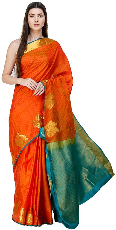 Autumn-Maple Brocaded Sari from Bangalore with Self-Woven Fabric and Peacocks on Border