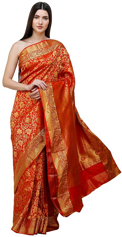 Flame-Scarlet Brocaded Bridal Sari from Bangalore with Peacocks on Border