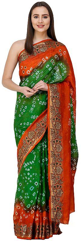 Mint-Green and Orange Bandhani Sari from Rajasthan with Zari Weave on Border