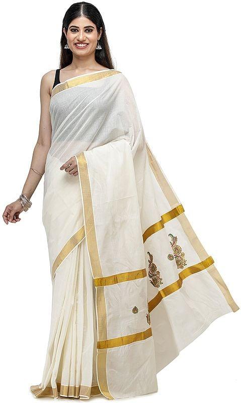 Burnt-Ochre Printed Sari form Surat with Gota-Patti Border and Stones on Pallu