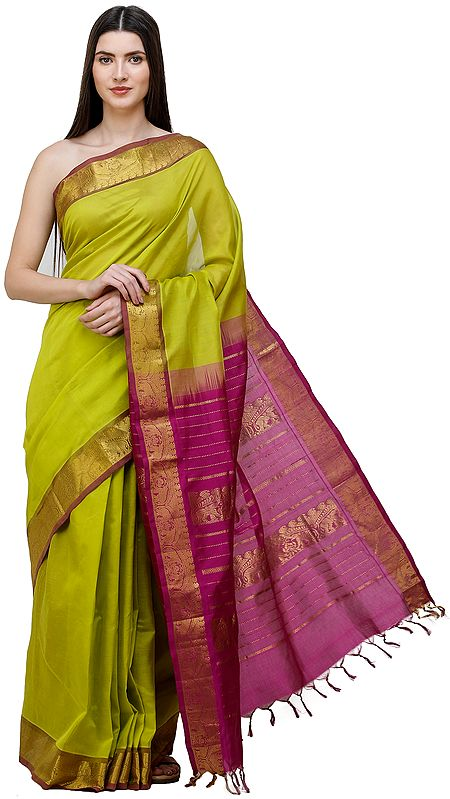 Green-Apple Pure Silk Sari from Channai with Zari-Woven Border and Purple Pallu