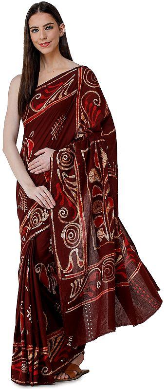 Rum-Raisin Batik Sari from Madhya Pradesh with Bold Motifs